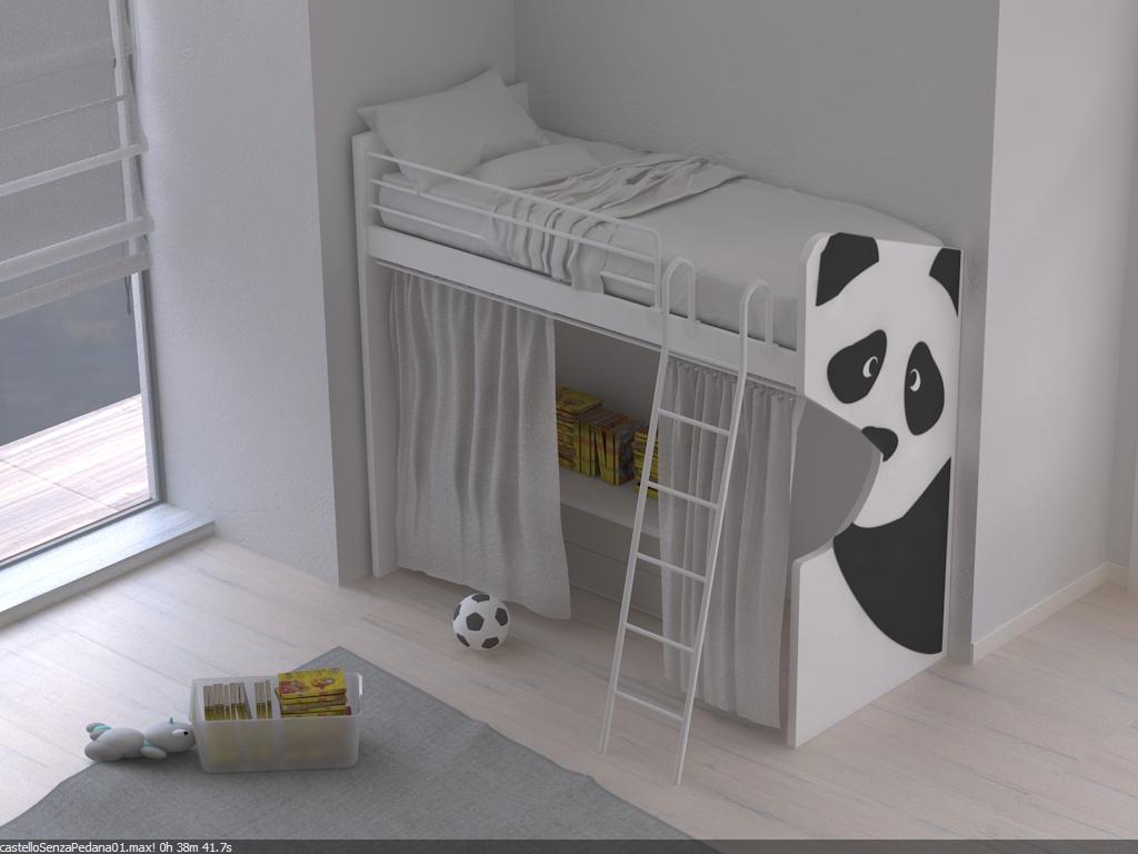 Letto singolo a soppalco panda - Soppalco per letto ...