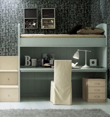 Letto a soppalco con scrivania estraibile in legno - Letto soppalco con scrivania ...
