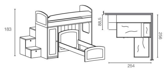 Letto a soppalco ad angolo in legno massello a 2782 euro - Misure letto a castello ...